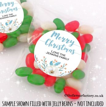 Christmas Table Favours Sweet Bags Kits Winter Floral Bouquet x 12