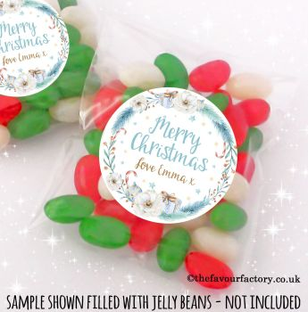 Christmas Table Favours Sweet Bags Kits Winter Floral Wreath x 12