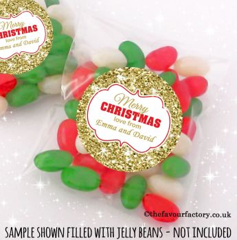 Christmas Table Favours Sweet Bags Kits Gold Glitter x 12