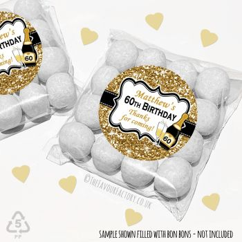 Adult Birthday Party Favours Sweet Bags Kits Gold Glitter Champagne x 12
