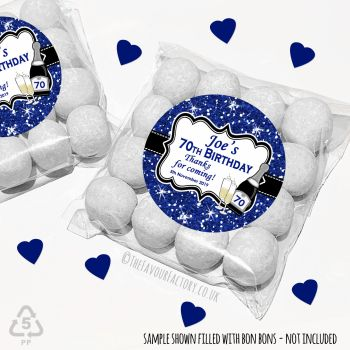 Adult Birthday Party Favours Sweet Bags Kits Navy Glitter Champagne x 12