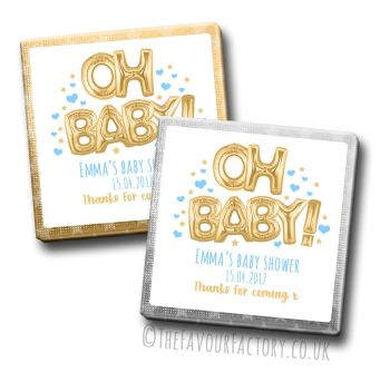 Baby Shower Chocolates Favours - Personalised -  Oh Baby Balloons Gold & Blue