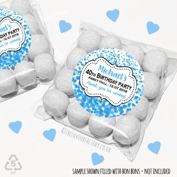 Adult Birthday Party Favours Sweet Bags Kits Blue Confetti x 12