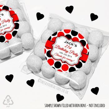 Adult Birthday Party Favours Sweet Bags Kits Red Black Polka Dots x 12