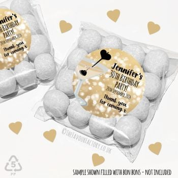 Adult Birthday Party Favours Sweet Bags Kits Gold Cocktail Hearts x 12