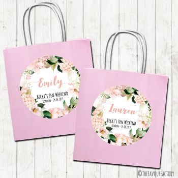 Hen Party Bags Personalised Blush Hydrangeas Florals