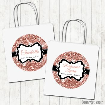 Hen Party Bags Personalised Rose Gold Glitter