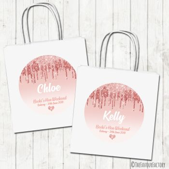 Hen Party Bags Personalised Rose Gold Dripping Glitter