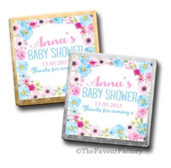 Baby Shower Chocolates Favours Personalised Pink & Blue floral Wreath