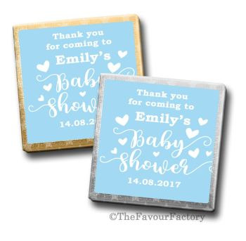 Baby Shower Chocolates Favours Personalised Blue Love Hearts
