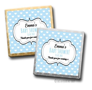Baby Shower Chocolates Favours Personalised Blue Polka Dot Hearts