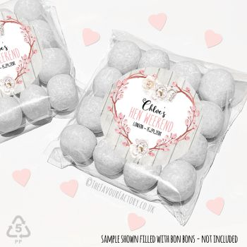 Hen Party Sweet Bags Kits Boho Floral Branch Heart x 12