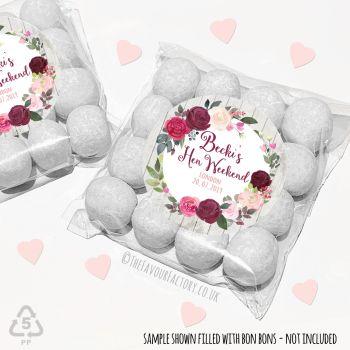 Hen Party Sweet Bags Kits Boho Burgundy Blush Florals  x 12