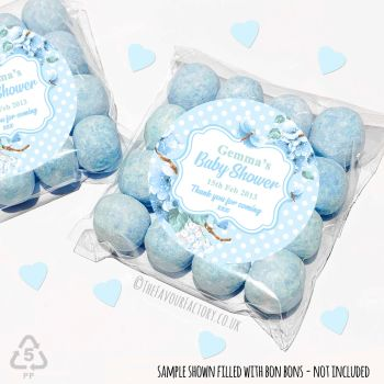 Baby Shower Sweet Bags Favours Kits Blue Floral Polka Dots x 12