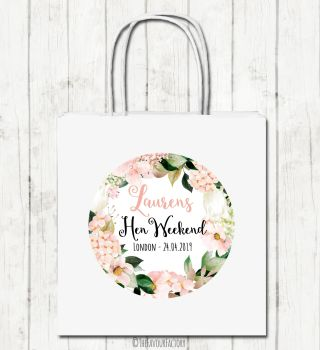 Hen Party Bags Personalised Blush Hydrangeas Florals x1