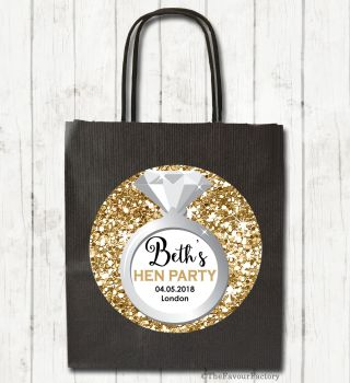 Hen Party Bags Personalised Gold Glitter Ring x1