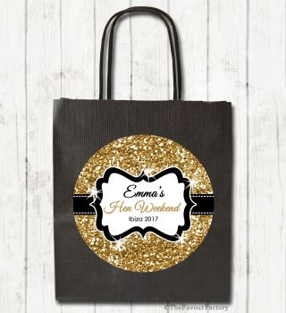 Hen Party Bags Personalised Gold Glitter x1