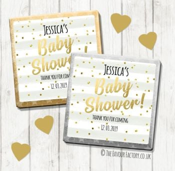 Baby Shower Chocolates Favours Personalised Grey Stripes Confetti