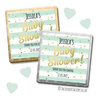 Baby Shower Chocolates Favours Personalised  Mint Stripes Confetti