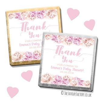 Baby Shower Chocolates Favours Personalised Thank You Floral Pinks Peaches