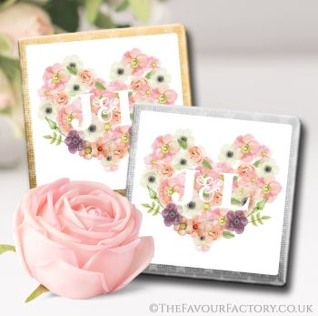 Wedding Chocolates Favours Personalised Initials Floral Heart x10