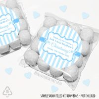 Christening Favours Sweet Bags Kits Personalised Blue Candy Stripes  x 12