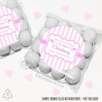 Christening Favours Sweet Bags Kits Personalised Pink Candy Stripes  x 12