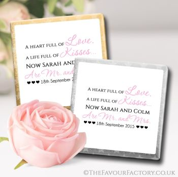 Wedding Chocolates Favours Personalised Heart Full of Love x10