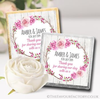 Wedding Chocolates Favours Personalised Berry Rose Floral Wreath x10