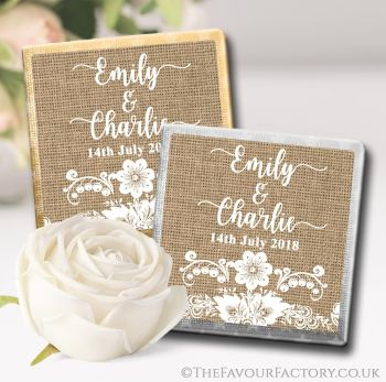 Wedding Chocolates Favours Personalised Burlap and Lace x10