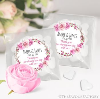 Wedding Favours Sweet Bags Berry Rose Floral Wreath x 12