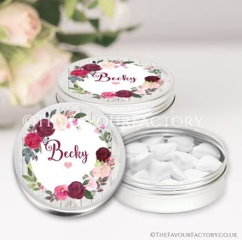 Hen Party Favours Keepsakes Tins Personalised Burgundy Blush Floral Wreath x1