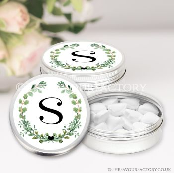 Hen Party Favours Keepsakes Tins Personalised Names Green Leaves Initials x1