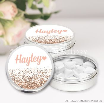 Hen Party Favours Keepsakes Tins Personalised Names Rose Gold Glitter Confetti x1