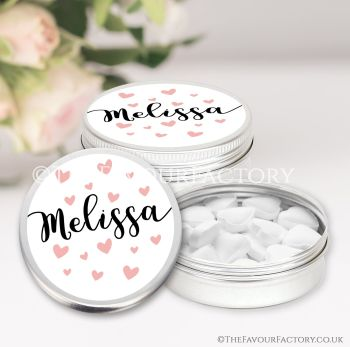 Hen Party Favours Keepsakes Tins Personalised Hearts x1