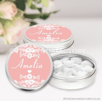 Hen Party Favours Keepsakes Tins Personalised Floral Lace Edge x1