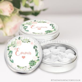 Hen Party Favours Keepsakes Tins Personalised Floral Succulents x1