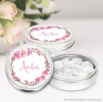 Hen Party Favours Keepsakes Tins Personalised Berry Rose Wreath x1