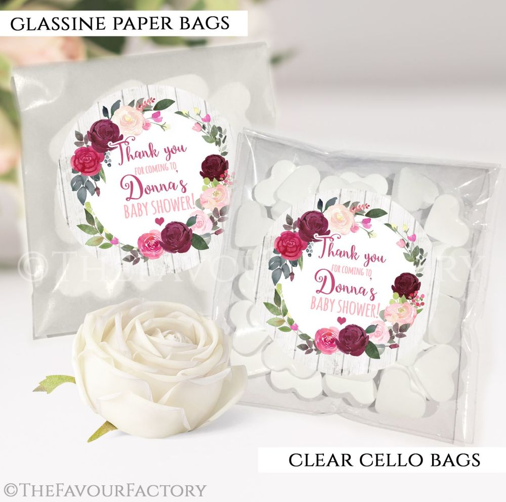 Baby Shower Party Favours Sweet Bags Burgundy Blush Florals x12