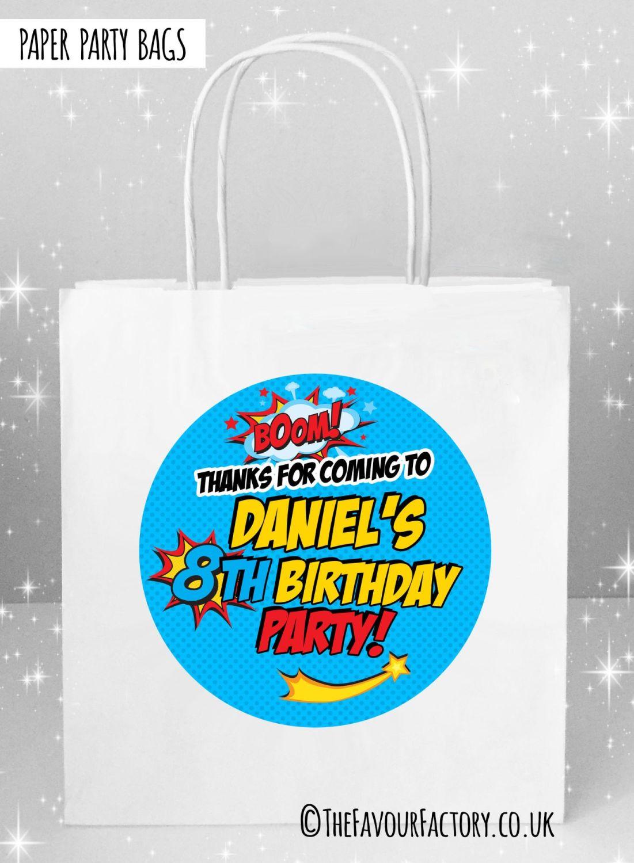 Kids Party Bags Boom Superhero Comic Style x1