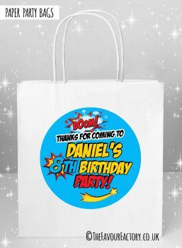 Kids Party Bags Boom Superhero Comic Style x5