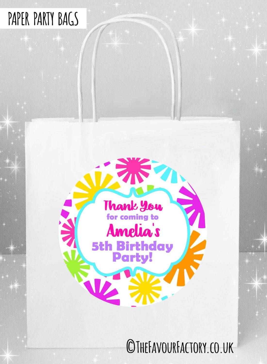 Kids Party Bags Boys Bright Flowers x5