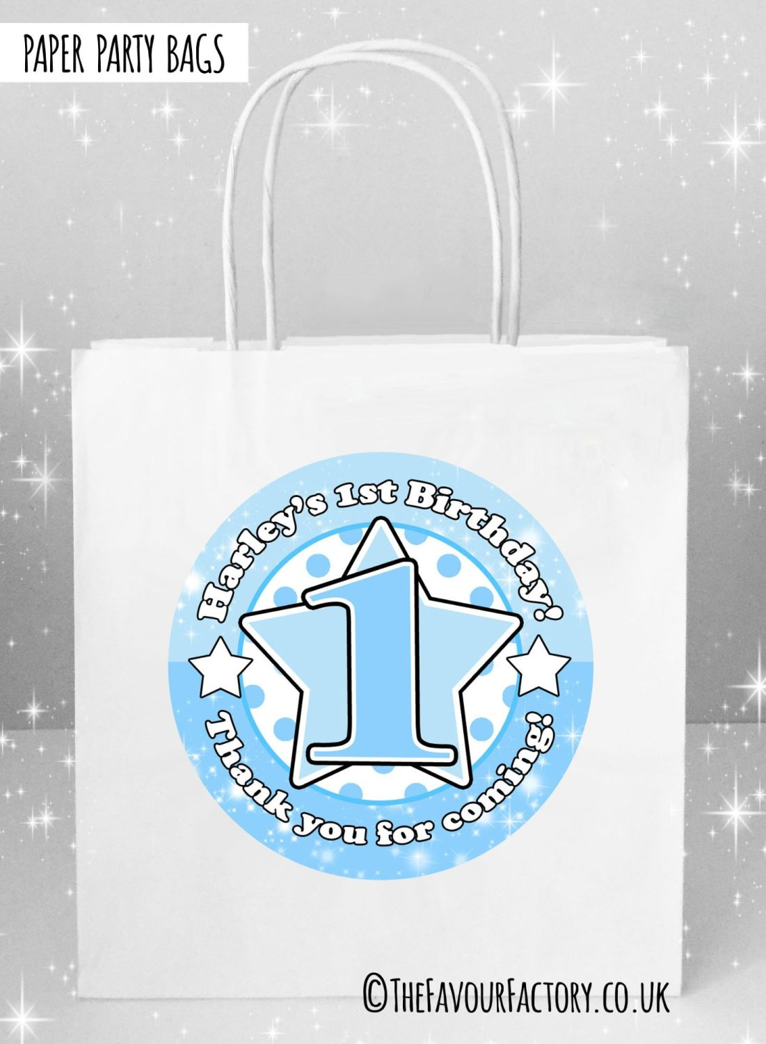Kids Party Bags Any Age Stars Blues x5