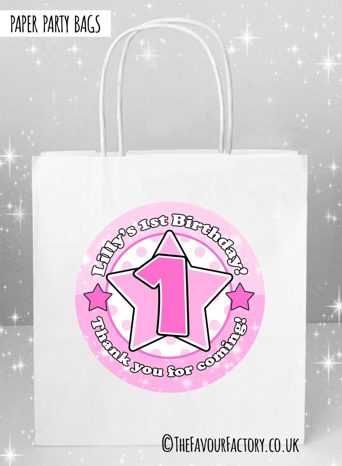 Kids Party Bags Any Age Stars Pinks x5