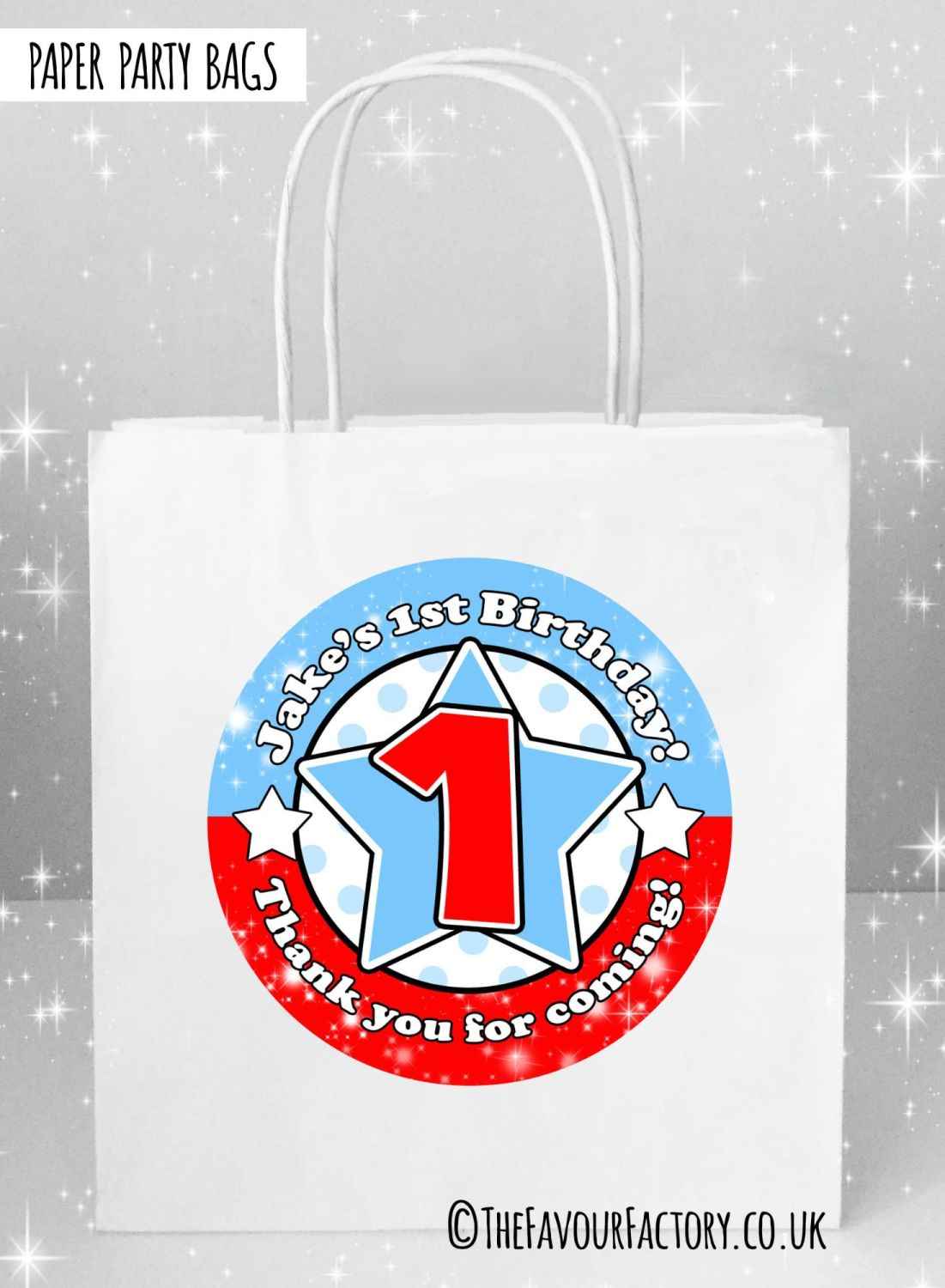 Kids Party Bags Any Age Stars Red and Blue x5