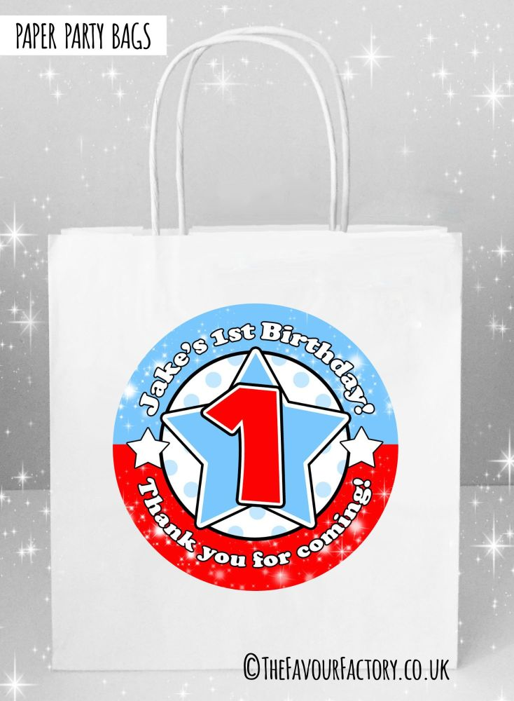 Blue and Red Star Age Kids Party Bags x1
