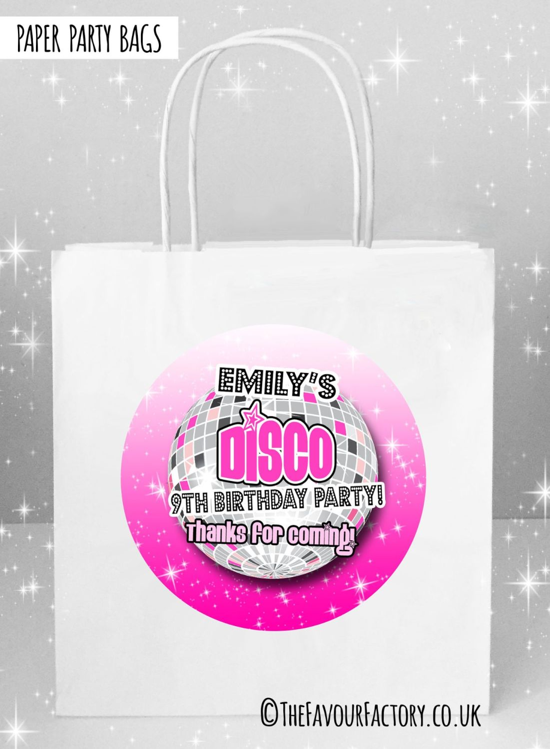 Kids Party Bags Pink Disco x5