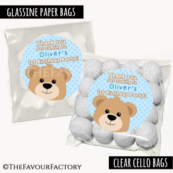Kids Party Favours Sweet Bags Kits Teddy Bear Blues x12