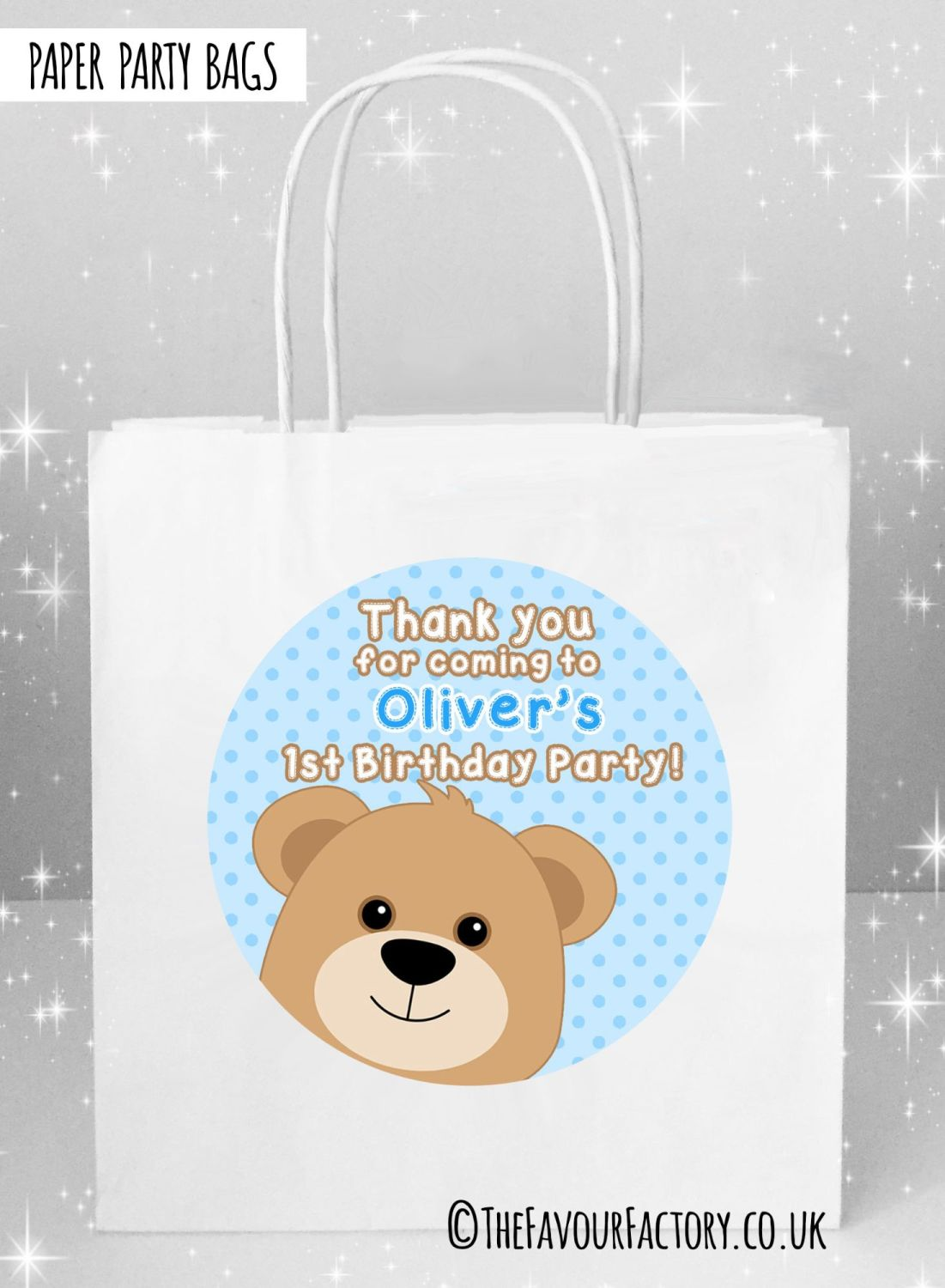 Kids Party Bags Birthday Teddy Bear Blue x5