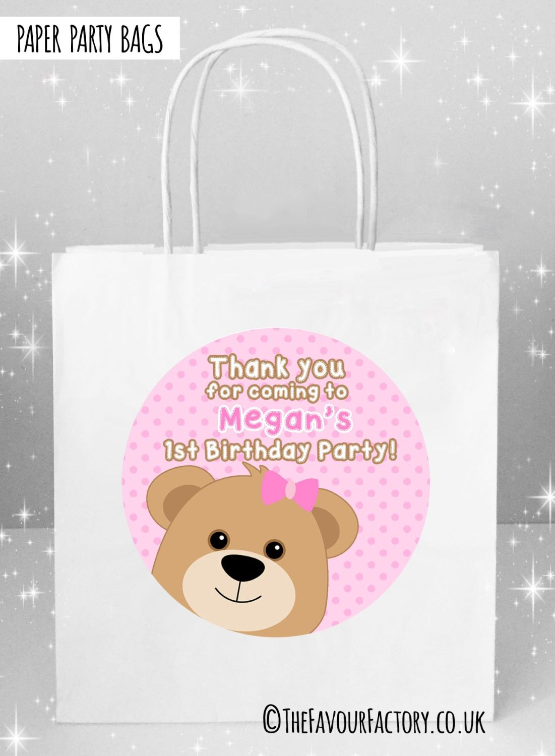 Kids Party Bags Birthday Teddy Bear Pinks x5